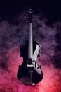 Elegant black violin in smoke Stock Images