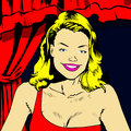 Elegant blond female comic book style illustration of an woman Royalty Free Stock Photography