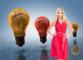 Elegant blonde standing hands on hips composite image of in red dress Stock Image
