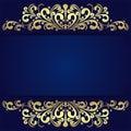Elegant blue Background with floral golden Borders.