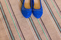 Elegant blue flat shoes for women Royalty Free Stock Photo