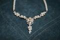 Elegant bridal necklace on dark background Royalty Free Stock Photo