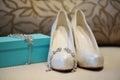 Elegant bridal shoes box Stock Photography