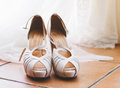 Elegant bridal shoes detail in horizontal composition Stock Images