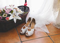 Elegant bridal shoes in horizontal composition Stock Images