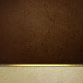 Elegant brown paper background with white border and gold ribbon trim or stripe dark website poster layout fancy off vintage Stock Image