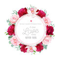 Elegant burgundy red peonies, orchid, rose, camellia, eucalyptus leaves round vector frame