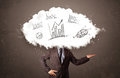 Elegant business man cloud head with hand drawn graphs concept Royalty Free Stock Photo