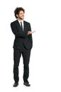 Elegant businessman giving presentation portrait of young man in tuxedo isolated on white background Stock Photos