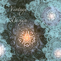 Elegant card with shiny Indian ornament pattern in beautiful blu