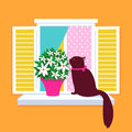 Elegant cat vector silhouette sitting on the windo a cute window and smelling flowers in springtime Stock Photo