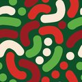 Elegant Christmas abstract handdrawn vector background. Curved shapes seamless pattern.
