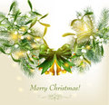 Elegant christmas card with fur branches Royalty Free Stock Photo