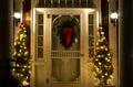 Elegant Christmas Doorway at Night