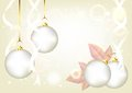 Elegant Christmas silver background with baubles Stock Photos