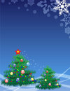 Elegant christmas tree on blue background Royalty Free Stock Photography
