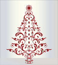 Elegant christmas tree in red Stock Photography