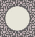 Elegant circle frame with flowers and leaves Royalty Free Stock Photo