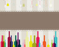 Elegant colorful bottles and glasses illustration Stock Photo