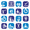 Elegant colorful fitness icons set created mobile web applications Royalty Free Stock Photos