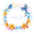 Elegant colorful flower invitation postcard birds Stock Photo