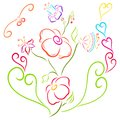 Elegant colorful flowers, hearts and birds