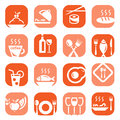 Elegant colorful restaurant icons set created mobile web applications Royalty Free Stock Photos