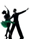 Elegant couple dancers dancing silhouette Royalty Free Stock Photo