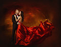 Elegant Couple Dancing in Love, Woman in Red Clothes and Lover