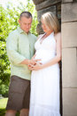 Elegant couple pregnant woman and handsome man happy young men women looking into each other s eyes while talking is Stock Photo