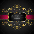 Elegant, dark, gold-framed label Royalty Free Stock Photography