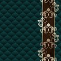 Elegant dark green Rococo background with ornament