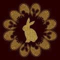 Elegant Easter background in black and gold colors. Sparkling Easter bunny and eggs.