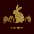 Elegant Easter background with gold bunny and eggs on black