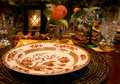 Elegant fall dinner setting Royalty Free Stock Photos
