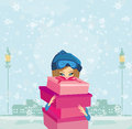 Elegant and fashionable girl with gift box illustration Stock Photos