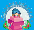 Elegant and fashionable girl with gift box illustration Royalty Free Stock Photography