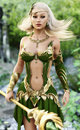 Elegant female mage in the forest with depth of field.