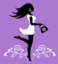 Elegant female silhouette and ornate pattern with swirls in a dress Royalty Free Stock Image