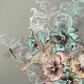 Elegant floral background with flowers and humming birds cute vector in vintage style hand drawn Stock Photos