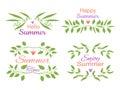Elegant floral decorative elements set with summer invitations
