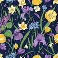 Elegant floral seamless pattern with beautiful spring flowers on dark background. Gorgeous blooming plants. Colorful