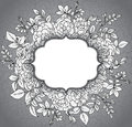 Elegant floral template with graphic bush roses and leaves.