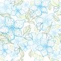Elegant flower seamless background. Blue set. Hand drawn