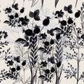 Elegant flower vector pattern with plants. Vintage provance styl