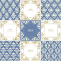 Elegant frames and damask seamless patterns set. Royalty Free Stock Photo