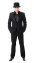 Elegant full length young man in black suit and hat derby isolated on white background Royalty Free Stock Images