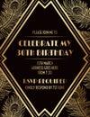 Elegant Geometric Gatsby Art Deco Invitation Design with Feathers Royalty Free Stock Photo