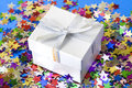 Elegant gift box on background full of stars still life Stock Image