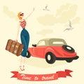 An elegant girl is hitchhiking